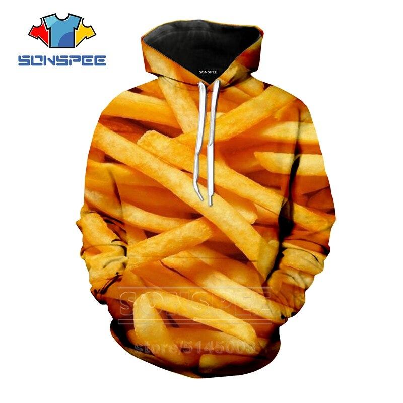 French Fries Hoodies New Men Women Potato Sweatshirt 3D Print Food Unisex Long Sleeve Hip Hop Top O Neck Harajuku Pullover C020