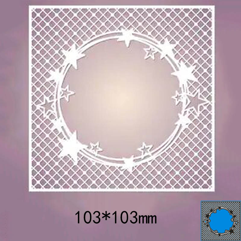 10.3*10.3cm Square Hollow Star New Metal Cutting Dies For Card DIY Scrapbooking Stencil Paper Craft Album Template Dies