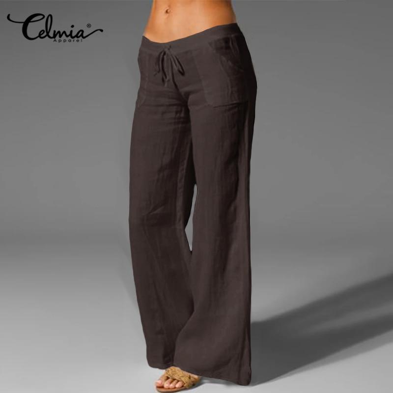 Oversized Trouser Celmia Women Vintage Linen Palazzo Fashion Long Wide Leg Pants Casual Elastic Waist Solid Loose Pantalon Femme 1
