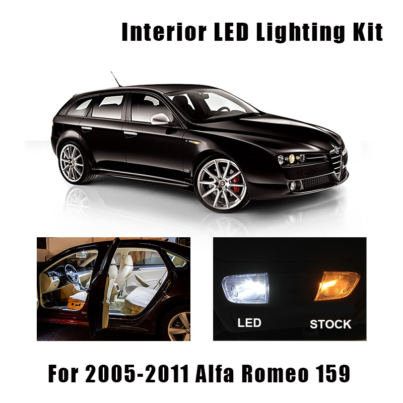 14 Bulbs White Canbus LED Interior Reading Light Kit Fit For Alfa Romeo 159 2005-2008 2009 2010 2011 Door Trunk Glove Box Lamp