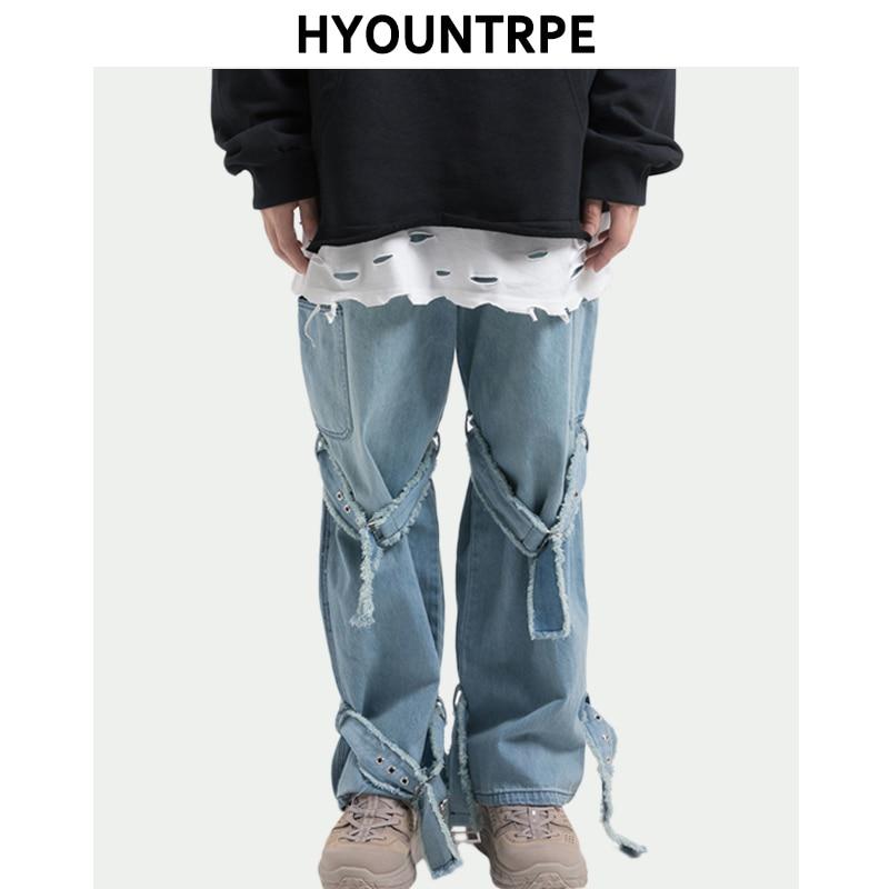 Mens Loose Straight Denim Jeans Hip Hop Loose Wide Leg With Bind Belt Pants Elastic Waist High Streetwear Pants Casual Trousers