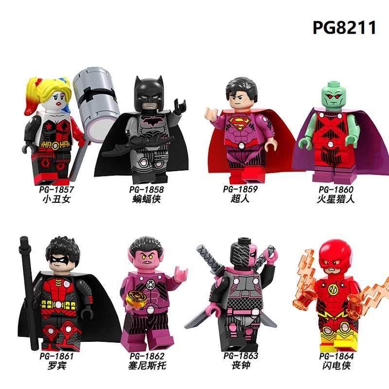 ขายเดียว Building Blocks Super Heroes Batman Superman Martian Manhunter Robin Sinestro แฟลชตัวเลขของเล่นเด็ก PG8211