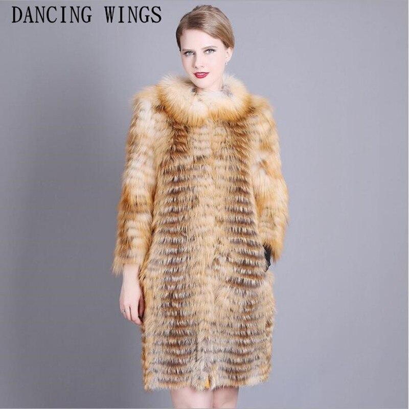 Plus Größe XS 7XL Fashion Echten Pelz Mantel Voll Pelt Natürliche Red Fox Pelz Jacke Oansatz Lange Frauen Mantel-in Echtes Fell aus Damenbekleidung bei  Gruppe 1