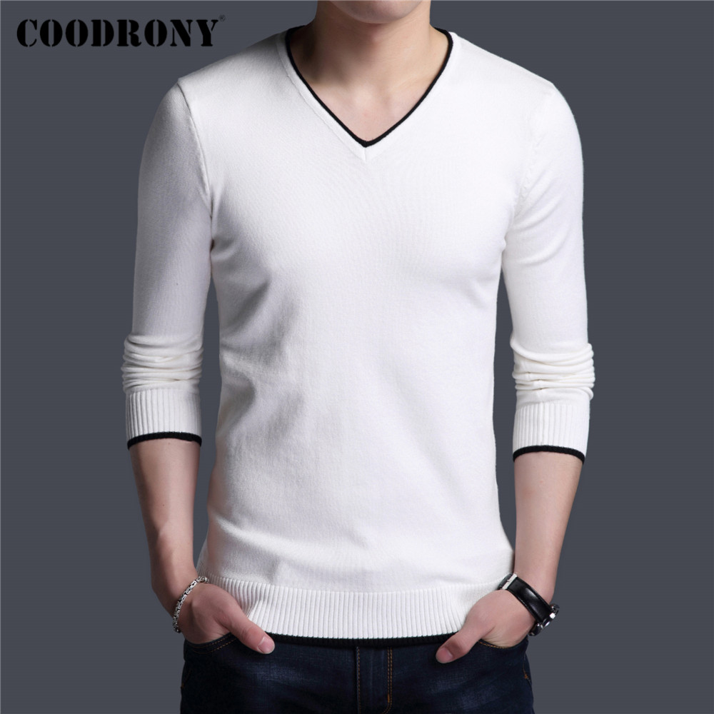 COODRONY Brand Spring Autumn New Arrival Soft Cotton Sweater Casual V-Neck Pull Homme Knitwear Pullover Men Clothes Jersey C1001 3