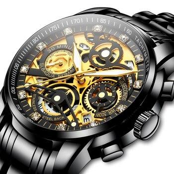Men Wathes Black Luxury Business Wristwatch Sport Quartz Stainless Steel Clock Diamond Wrist Watches Relojes Para Hombre