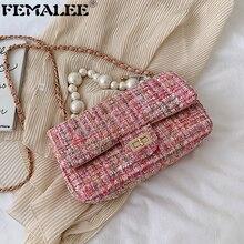 Fashion Tweed Pu Tas