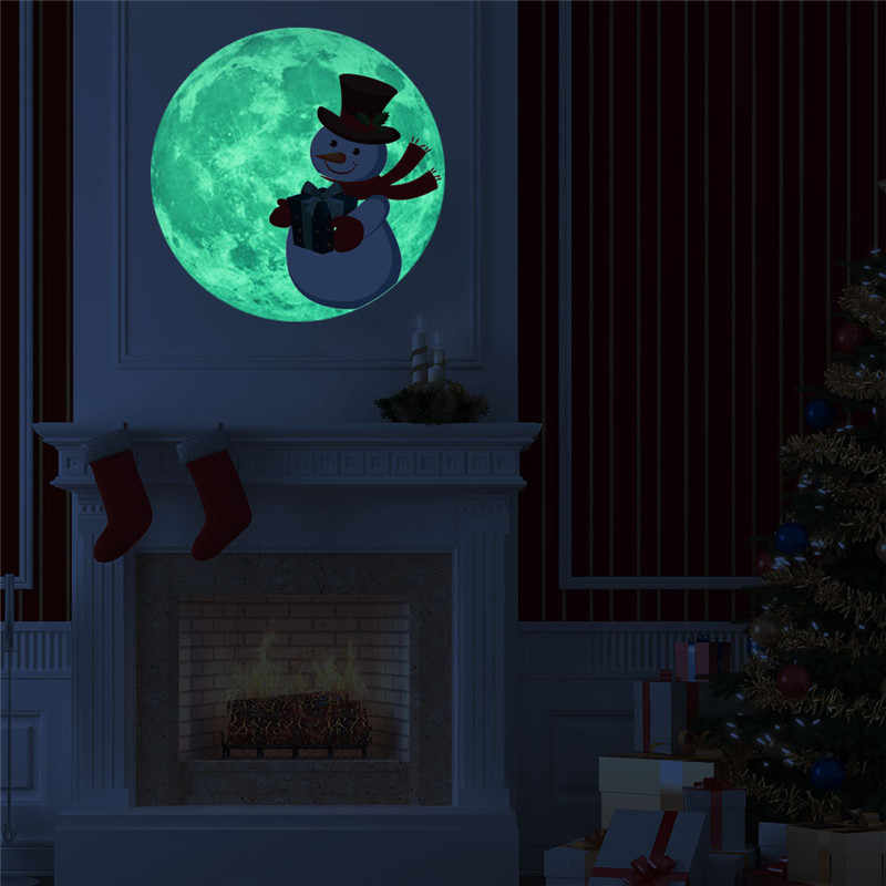 30 см Рождественская Луна настенная Съемная наклейка из ПВХ светящаяся Люминесцентная Луна петля светильник светится в темноте украшение дома Наклейка