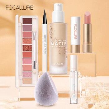 FOCALLURE 6pcs Makeup Set Eyeshadow Palette Lipgloss Lipstick Facial Cosmetics Eyeliner Makeup Sponge Kit Beauty and Health Makeup and Sets