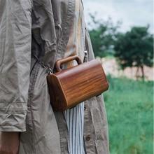 Retro Chain Box Design Messenger Bag For Women Handmade Wood Handbags Women Luxury Evening Bag Elegant Solid Wood Clutch Bags цена в Москве и Питере