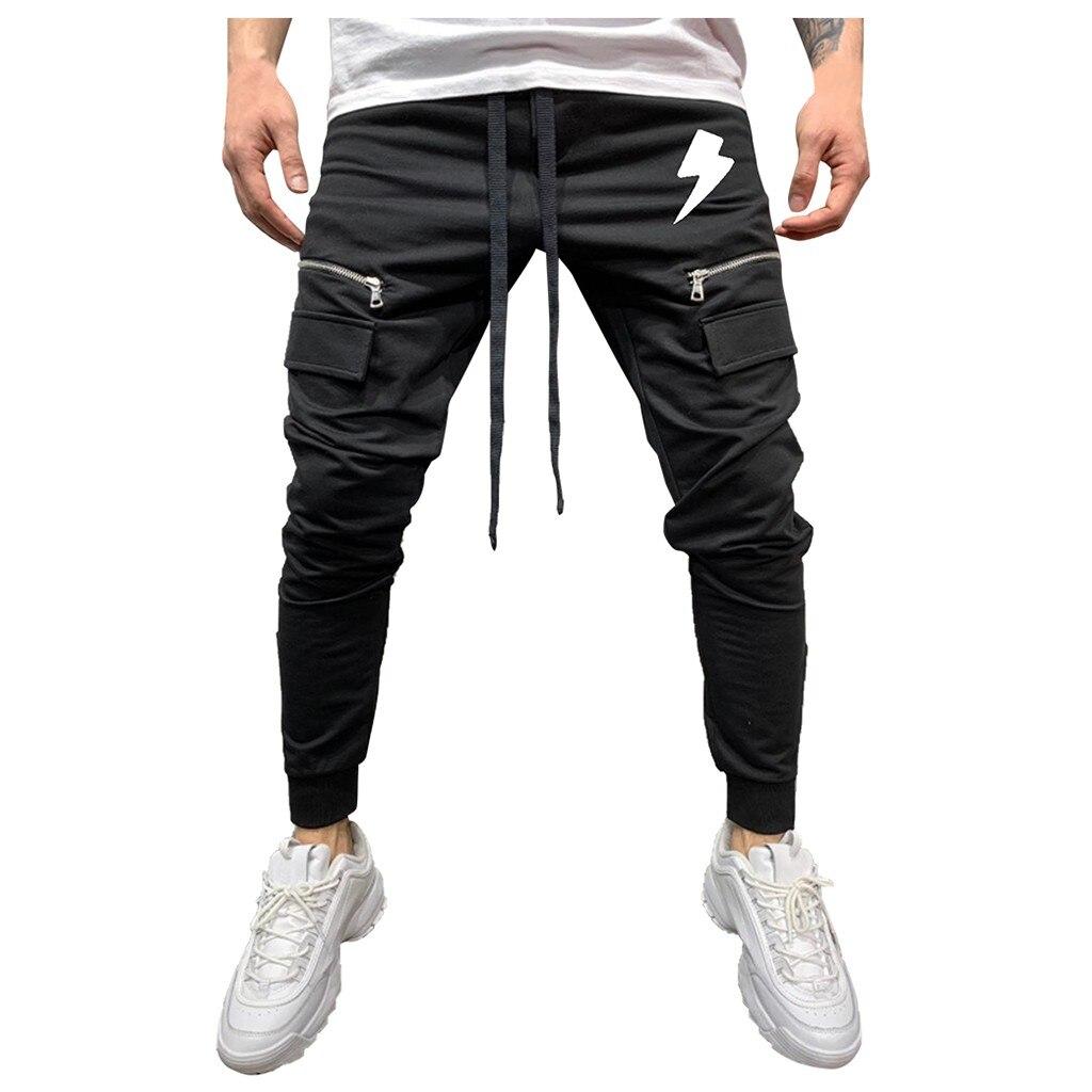 Men Pure Color Zipper Pants Streetwear Autumn Winter Zipper Pure Color Overalls Casual Pocket Sport Work Casual Pant Trousers@G2