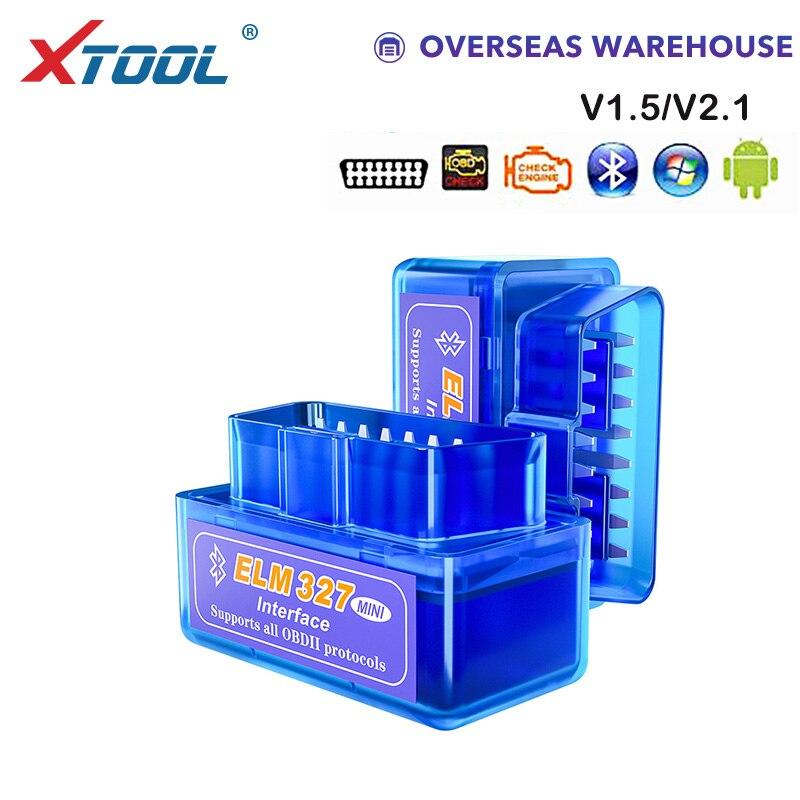 XTOOL 2019 Bluetooth V1.5/V2.1 Mini Elm327 obd2 escáner OBD herramienta de diagnóstico de coche lector de código para Android Windows Symbian inglés Coche Mini portátil ELM327 V2.1 OBD2 II Bluetooth diagnóstico coche Auto interfaz escáner azul Premium ABS herramienta de diagnóstico
