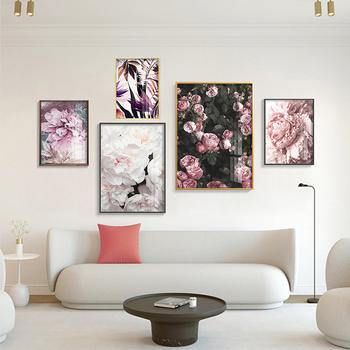 Modny plakat różowa róża piwonia drukowany obraz z kwiatami i piórami nowoczesne malarstwo styl skandynawski zdjęcia ścienny do salonu Home Decor tanie i dobre opinie qunexc CN (pochodzenie) Wydruki na płótnie Pojedyncze PŁÓTNO Wodoodporny tusz Flower bez ramki WR-B029 Malowanie natryskowe