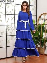 Knowdream vestidos femininos em torno do pescoço de manga comprida renda-up cintura chiffon grande swing vestido de saia longa vestidos femininos festa