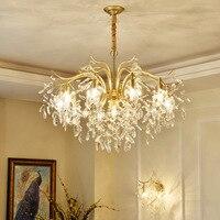 Moderno Lustre de Cristal Levou Lustres de Iluminação da Sala de Jantar Cobre Metal Conduziu a Lâmpada Lustre Sala de estar Pendurado Luzes Luminárias Lustres     -