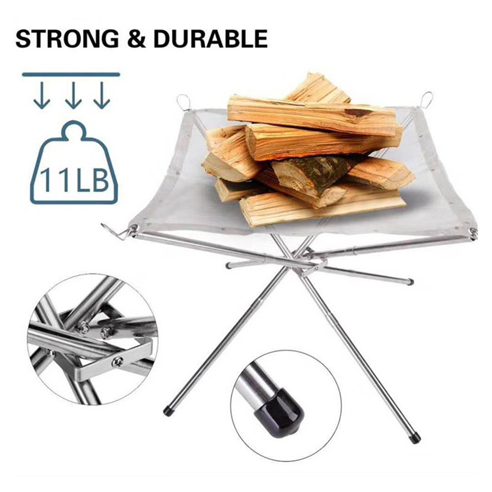 Practical Outdoor Fire Pit 4 Legs Collapsible Stainless Steel Mesh Fireplace with Storage Bag for Camping Backyard Garden