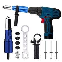 Electric Rivet Gun Riveting Adapter Insert Cordless Drill Aluminum Rivet Nut Riveter Insert Nail Power Tools Acessories