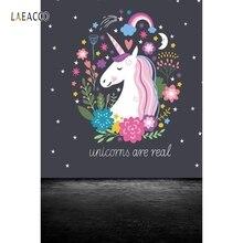 Laeacco Cute Flowers Unicorn Pattern Dark Floor Photography Backgrounds Vinyl Custom Photographic Backdrops For Photo Studio