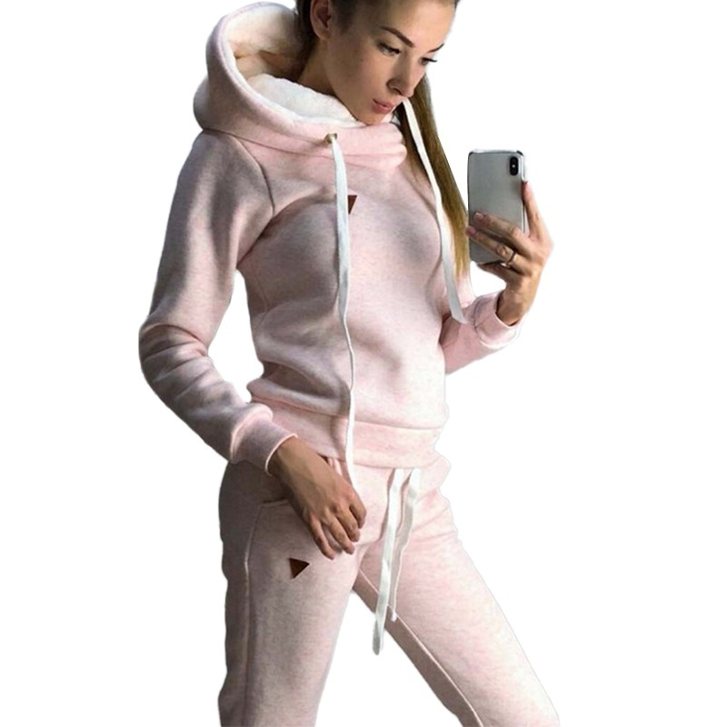 Vicabo Fashion Hoodie Set Women Autumn And Winter Hoodies Plus Size Lady Solid Color Fleece Kawaii Top Pants Sports Suit
