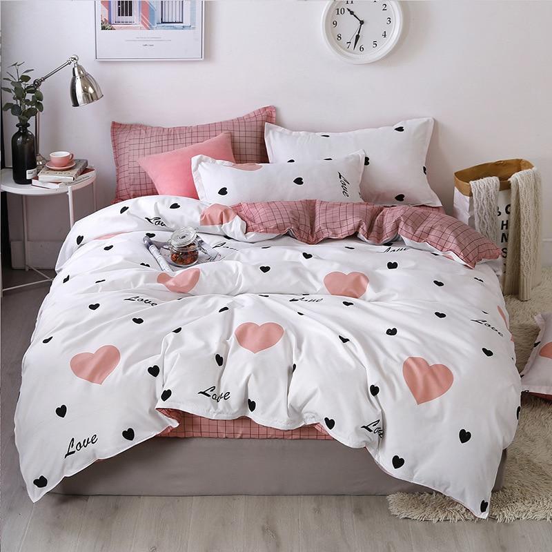 Denisroom Pink Dot Heart Printing Bed Linens Cute Bedding Sets Bed Duvet Cover Set Kid Quilt Cover Bed Sheets GT41#