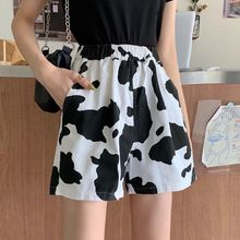 2021 Summer Cow Print Shorts Women High Waist Shorts Harajuku Wide Leg Elastic Girls Casual Solid T shirts and Shorts Set Suit