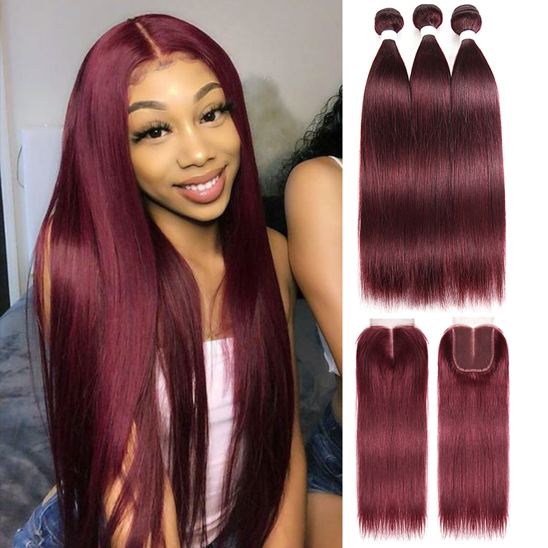 99J/Burgundy Human Hair 3 Bundles With Lace Closure Euphoria Brazilian Straight Hair Weaves With Closures Remy Human Bundle Hair