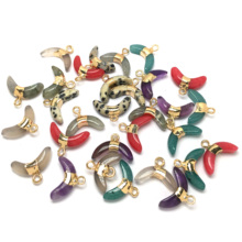 Moon Shape Natural Gems Pendants & Necklace for Women New Stone Jewelry Making Supplies Charms Men
