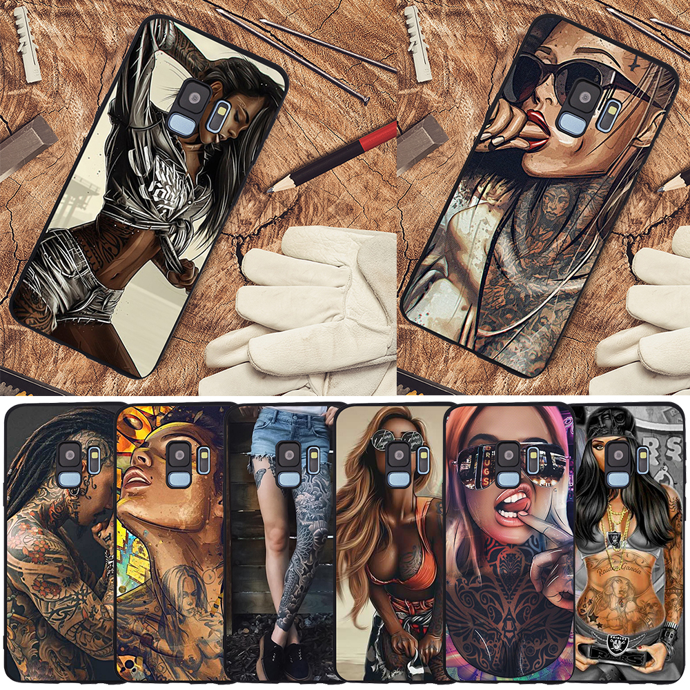 <font><b>Sexy</b></font> Tattoo Girl For Samsung Galaxy S6 S7 Edge <font><b>S8</b></font> S9 S10 Plus Lite Note 8 9 10 A30 A40 A50 A60 A70 M10 M20 phone <font><b>Case</b></font> Cover etui image
