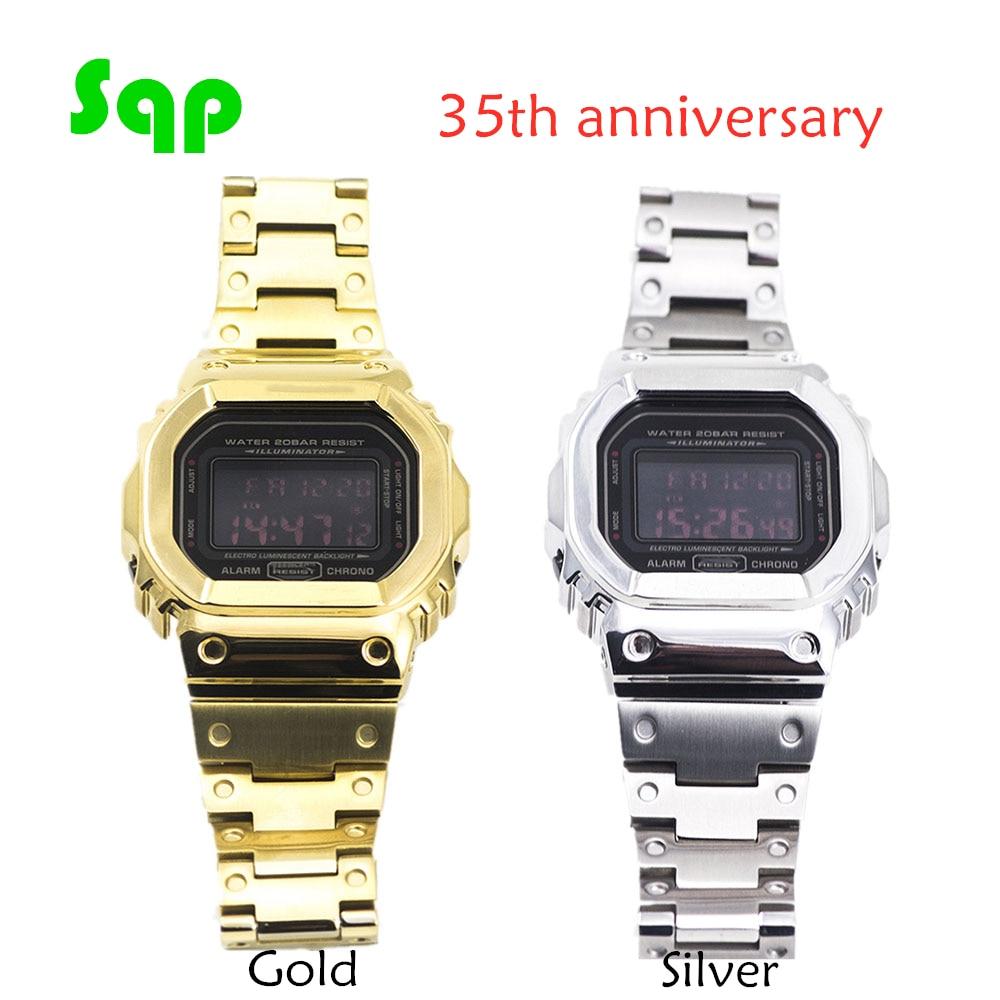 35 Anniversary Silver Watch Set DW5600 GW-M5610 Gold Watchband Bezel Metal Stainless Steel Strap