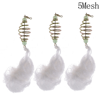3Pcs Fishing Net Trap Mesh With Luminous Bead Copper Spring Shoal Netting With Bait Feeder Fishing Traps Tool