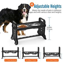 Acessórios para cães dupla tigela de cão 4 alturas ajustáveis pet cão prato de alimentação tigelas com alimentador removível comida para animais de estimação tigela de água perros