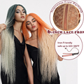Magia 38 pulgadas de largo Afro rizado de la armadura del pelo recto Ombre sintético pelucas delanteras de encaje para las mujeres negras resistente al calor pelucas