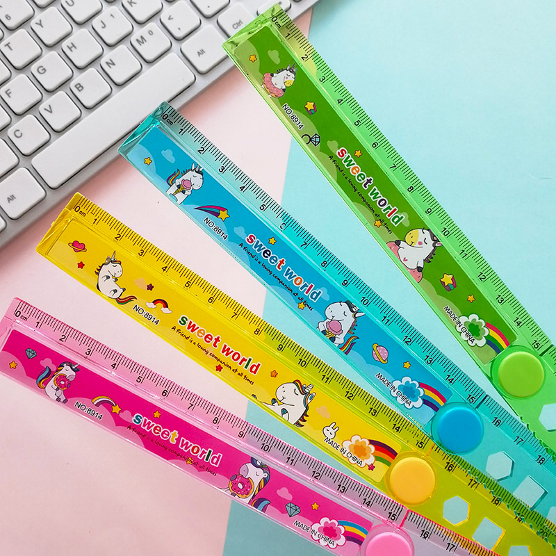 30CM Cute Kawaii Unicorn Study Time Folding Ruler Multifunction DIY Drawing Straight Ruler For Kids School Stationery Supply