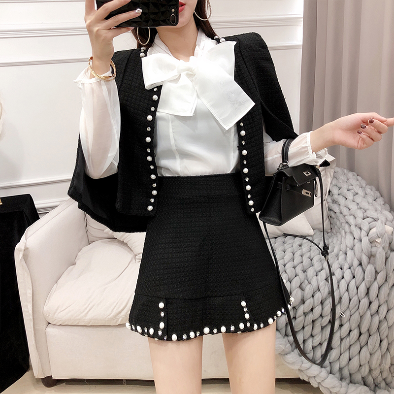 S-XXL High Quality Pearls Beading Tweed Jacket Cloak Coat And Skirt 2 piece set Women Elegant Bowknot White Shirt and Tweed Sets