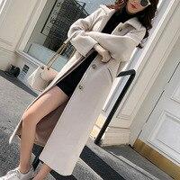 Autumn Winter Wool Coat Women 2019 Single breasted Woolen Coat Womens Black Warm Slim Solid Coat Long Women