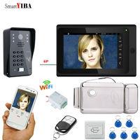 SmartYIBA Password ID Cards 7'' Color High Resolution Video Intercom Power Supply Control Electric Lock Doorbell Doorphone Kits