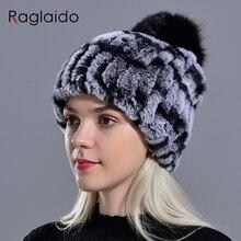 Zimowe futrzane czapki dla ladys kobiet Rex królik futro czapki czapki jednolity elastyczne zimowe akcesoria mody pompon z futra lisa kapelusz