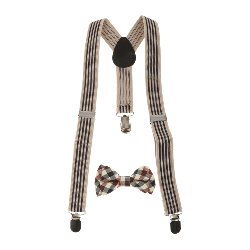Unisex Kid Suspenders Plaid Necktie Set Clip-on Braces Elastic Plaid Y-back Suspender