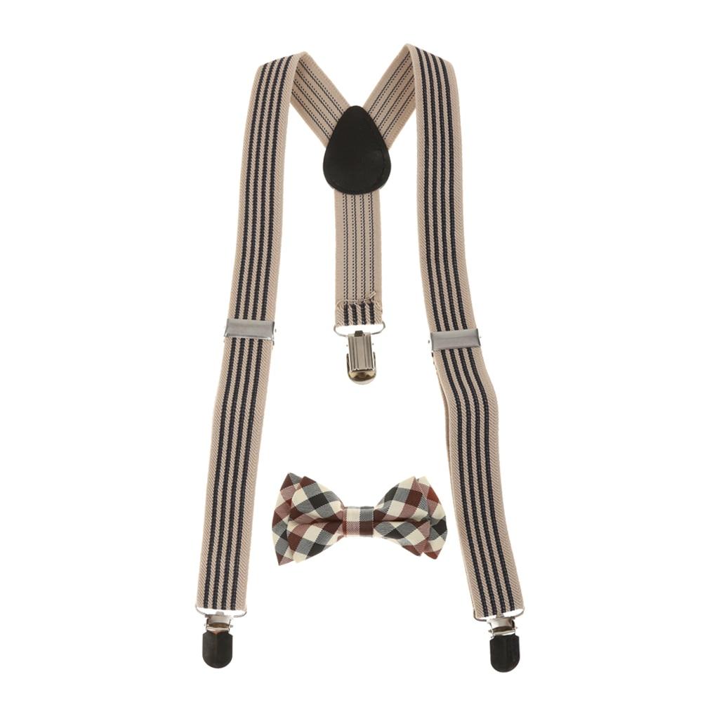 Unisex Kid Suspenders Plaid Necktie Set Clip-on Braces Elastic Plaid Y-back Suspender