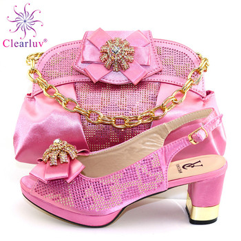 2020 Nigerian Wedding Bag and Shoes Set with Rhinestone Italian Shoe and Bag Set for Party In Women Luxury Shoes Women