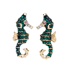2019 Crystal Enamel Earrings Fashion Jewelry Accessories Green Seahorse Stud Earrings For Women cnc side stand switch protector guard for bmw r 1200 gs 1200gs r1200gs lc adventure adv 2013 2018 13 14 15 16 17 18 cover cap