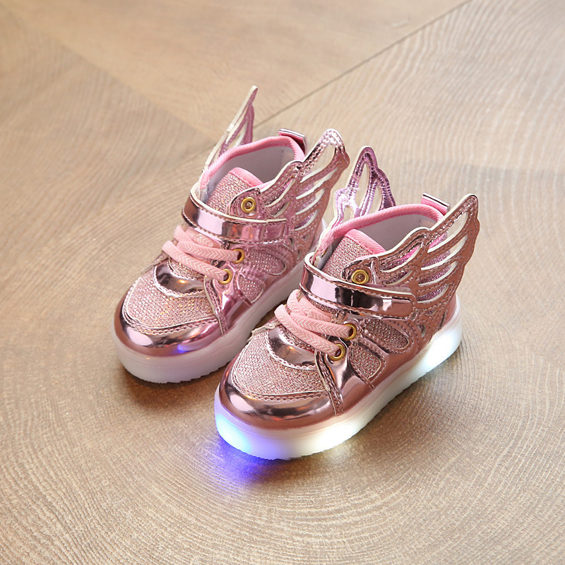 kids shoes LED Sneakers Children Shoes for Boys Girls Led Shoes Kids Sport Flashing Lights Glowing Glitter Casual Baby Wing Flat title=