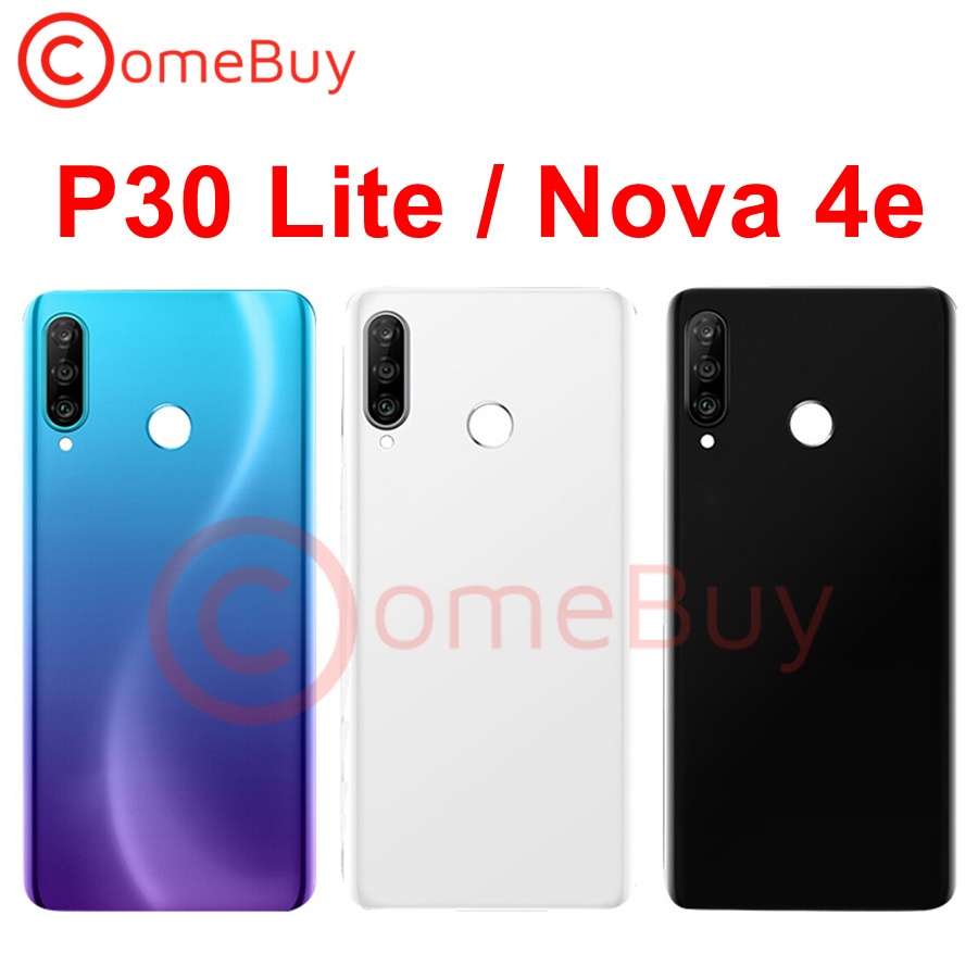 "For 6.15"" Huawei P30 Lite Back Battery Cover Nova 4e Rear Glass Door Panel Case For Huawei P30 Lite Battery Cover+Camera Lens"