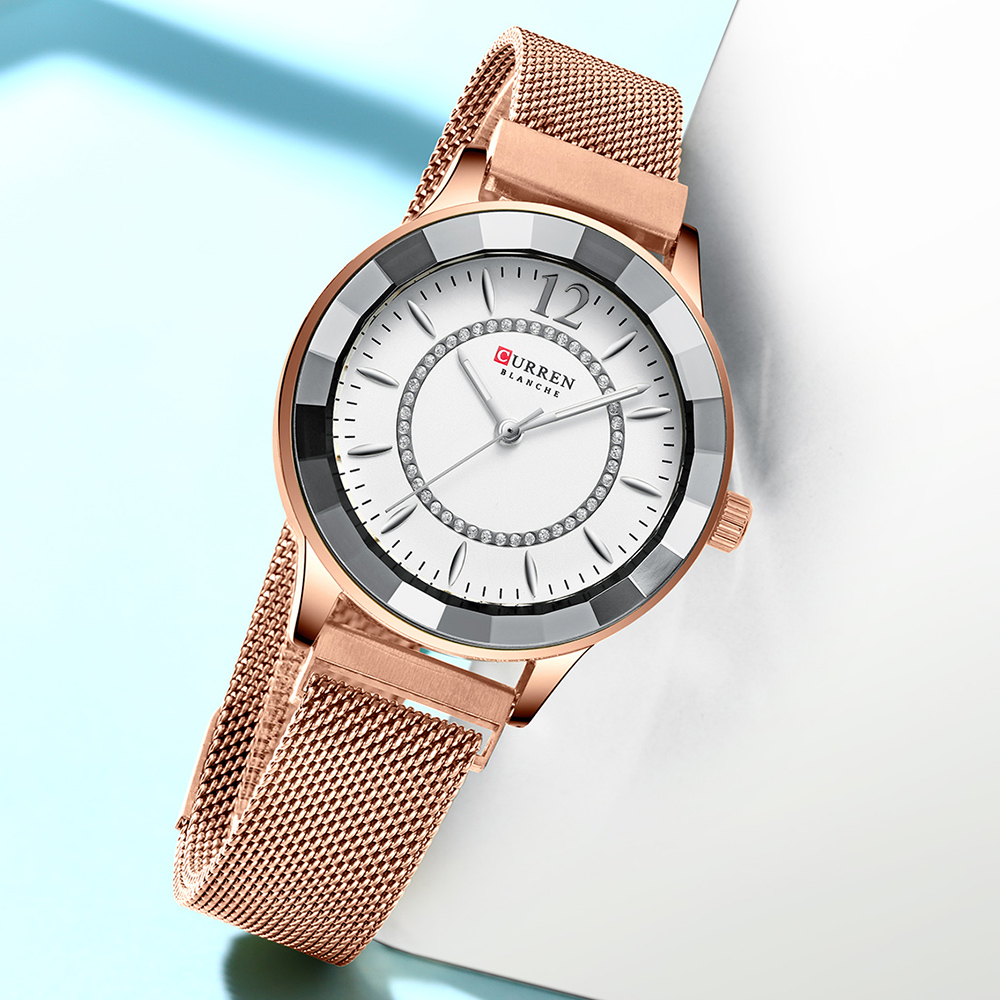 Image 3 - CURREN Charming Rhinestone Quartz Watch Fashion Design Watches Women Stainless Steel Band Clock Female Luxury reloj mujer-in Women's Watches from Watches