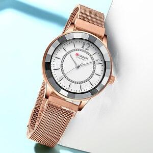 Image 3 - Curren Charmant Rhinestone Quartz Horloge Fashion Design Horloges Vrouwen Roestvrij Stalen Band Klok Vrouwelijke Luxe Reloj Mujer