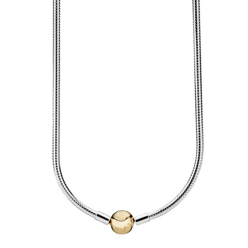 Nouveau 925 en argent Sterling collier Moments homard boule fermoir lisse serpent chaîne collier pour les femmes de mariage cadeau bijoux à bricoler soi-même