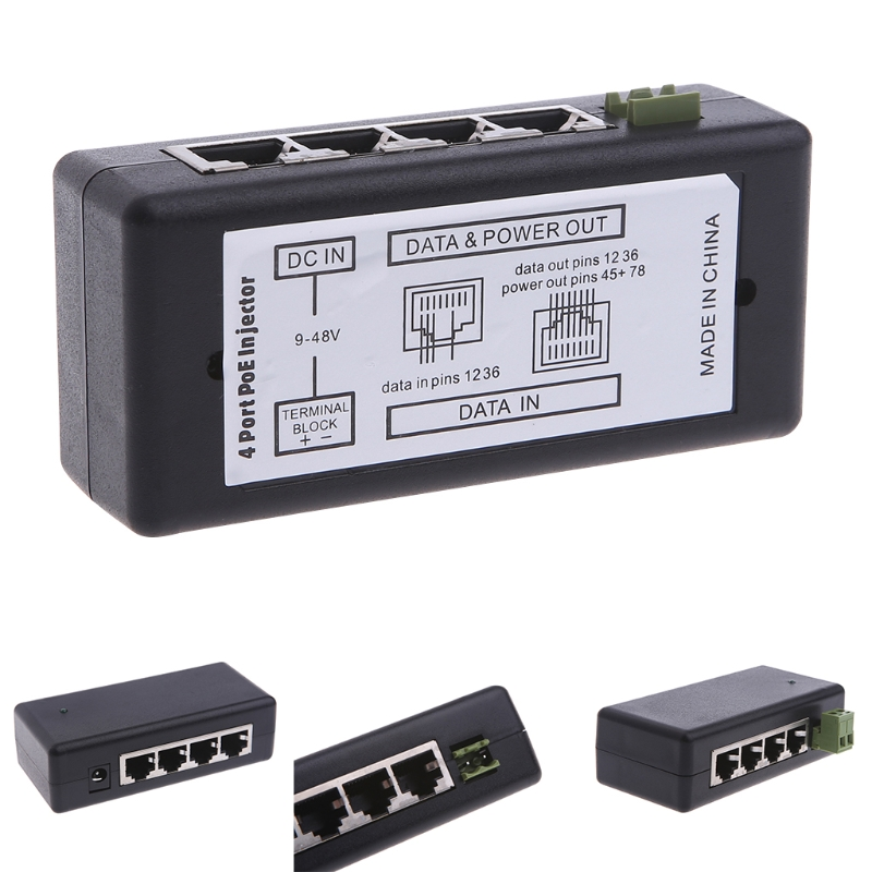 4 Port POE Injector For CCTV Surveillance IP Cameras Power Over Ethernet Adapter