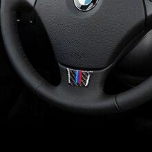 Carbon Fiber Steering Wheel Sticker M Stripe Emblem 3D Car Sticker For Bmw E70 E71 2008-2013 X5 X6 Car Styling Accessories