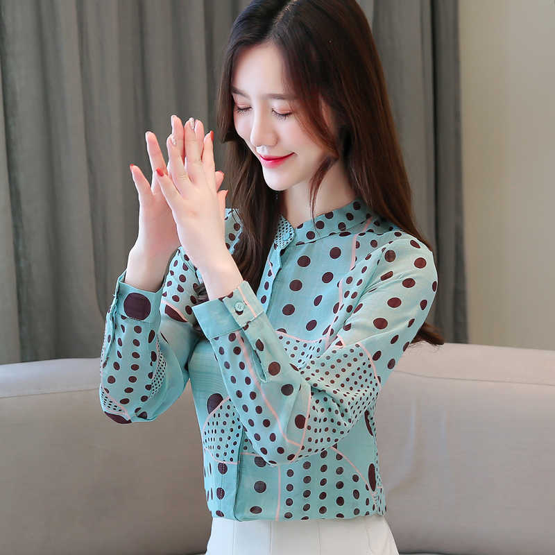 Wanita Blus Korea Fashion Chiffon Kemeja Elegan Wanita Cetak Blus Shirt Plus Ukuran Blusas Mujer De Moda 2019 Wanita Blus