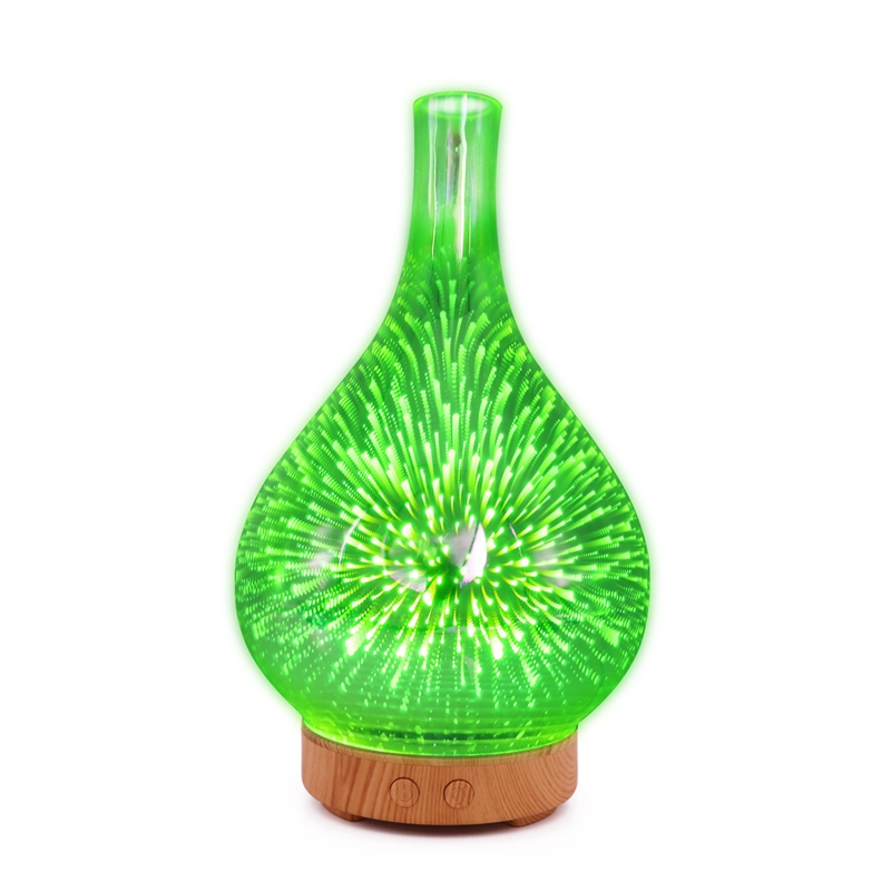 3D Firework Glass Vase Shape Air Humidifier with 7 Color Led Night Light Aroma Essential Oil Diffuser Mist Maker Ultrasonic