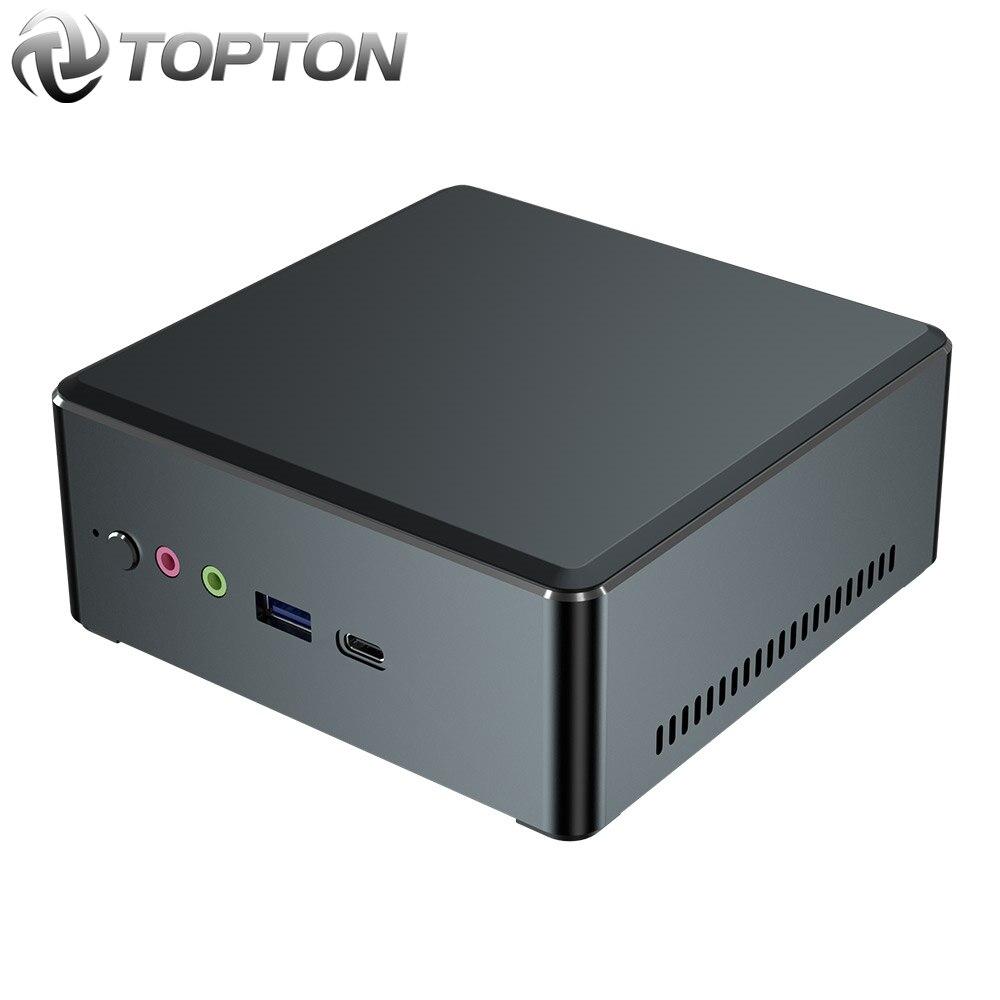 TOPTON Mini PC AMD Ryzen 7 2700U 5 3550H Vega grafik 2 * DDR4 M.2 NVMe oyun bilgisayarı Windows 10 3x4K tipi-c HDMI2.0 DP AC WiFi